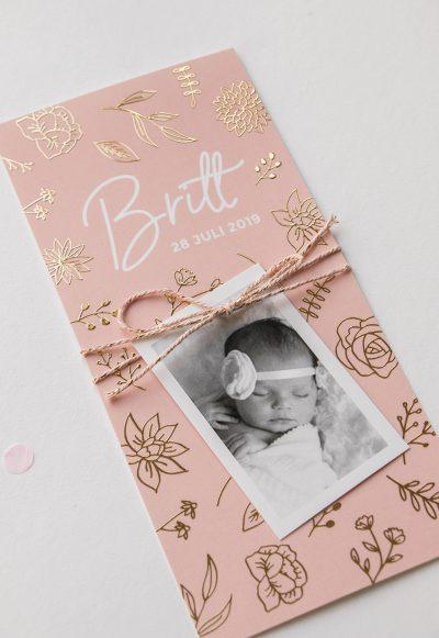 Geboortekaartje collectie patroon goudfolie met fotokaartje