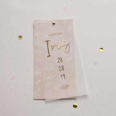 Geboortekaartje collectie patroon goudfolie transparant