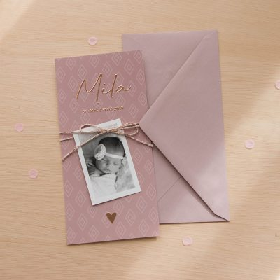 Geboortekaartje collectie patroon koperfolie met fotokaartje