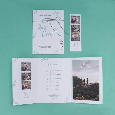 Trouwkaart drieluik botanisch
