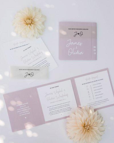 Trouwkaart ontwerp pocketfold oud roze