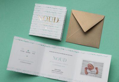 Geboortekaartje op maat drieluik mint met goudfolie
