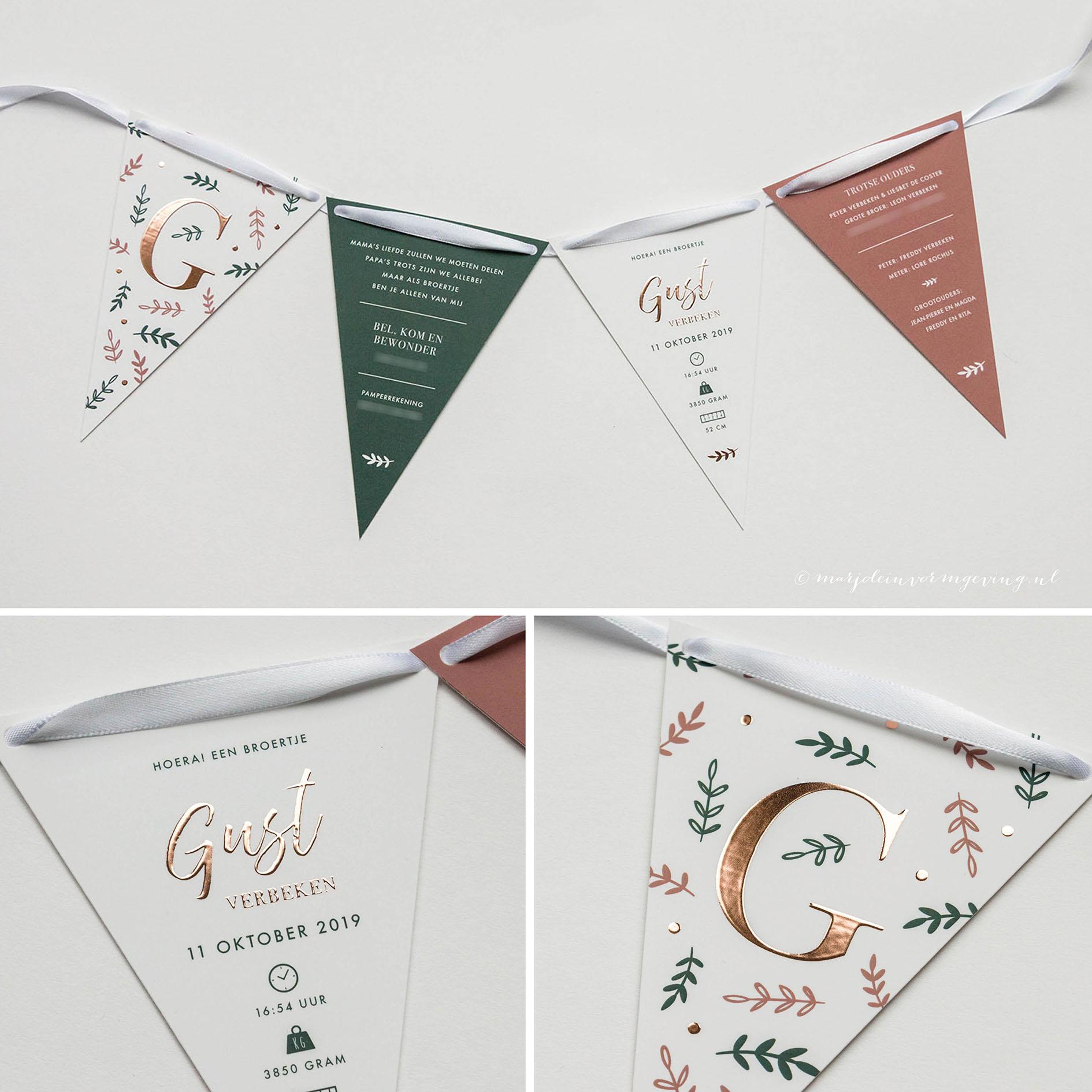 Geboortekaartje op maat vlaggenlijn met koperfolie