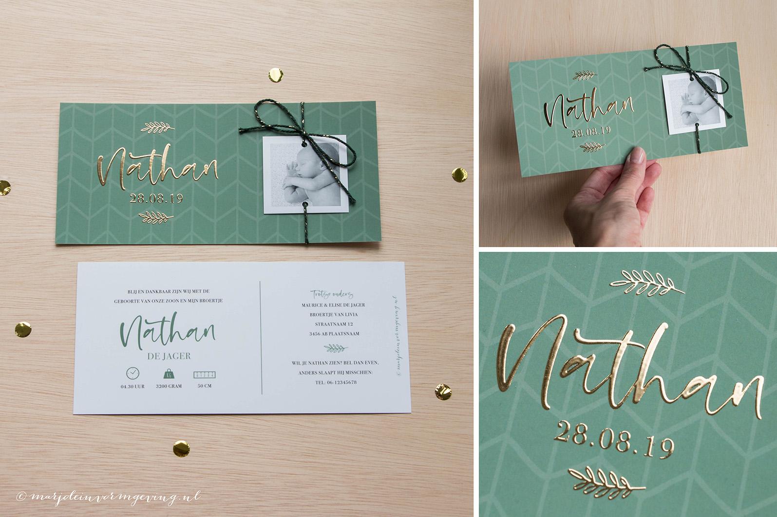 Geboortekaartje collectie patroon goudfolie fotokaartje