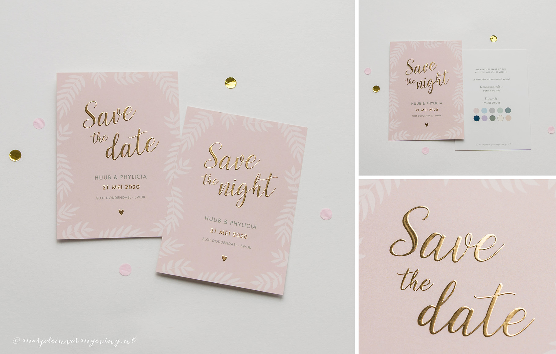 Ontwerp Save the Date kaart roze met goudfolie en botanische takjes
