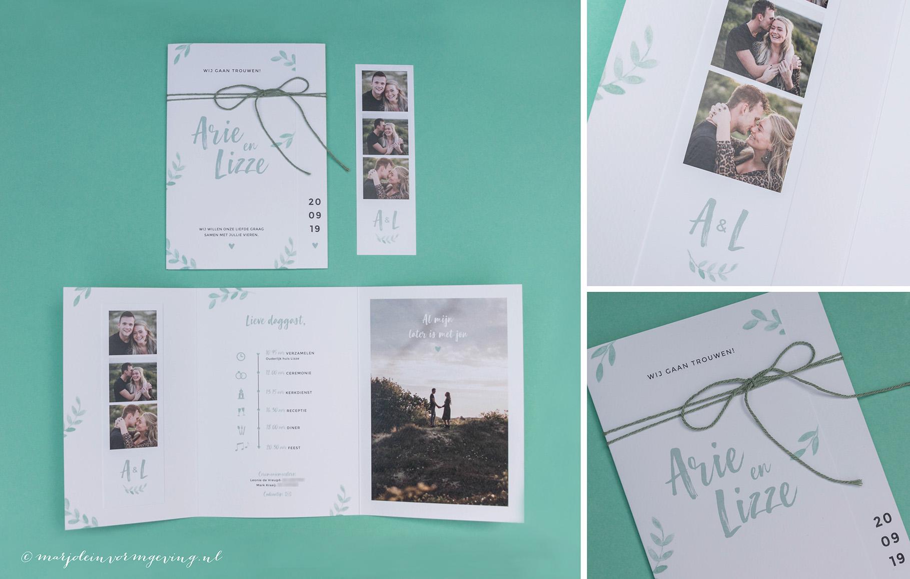Trouwkaart op maat formaat drieluik met fotostrip en botanische takjes