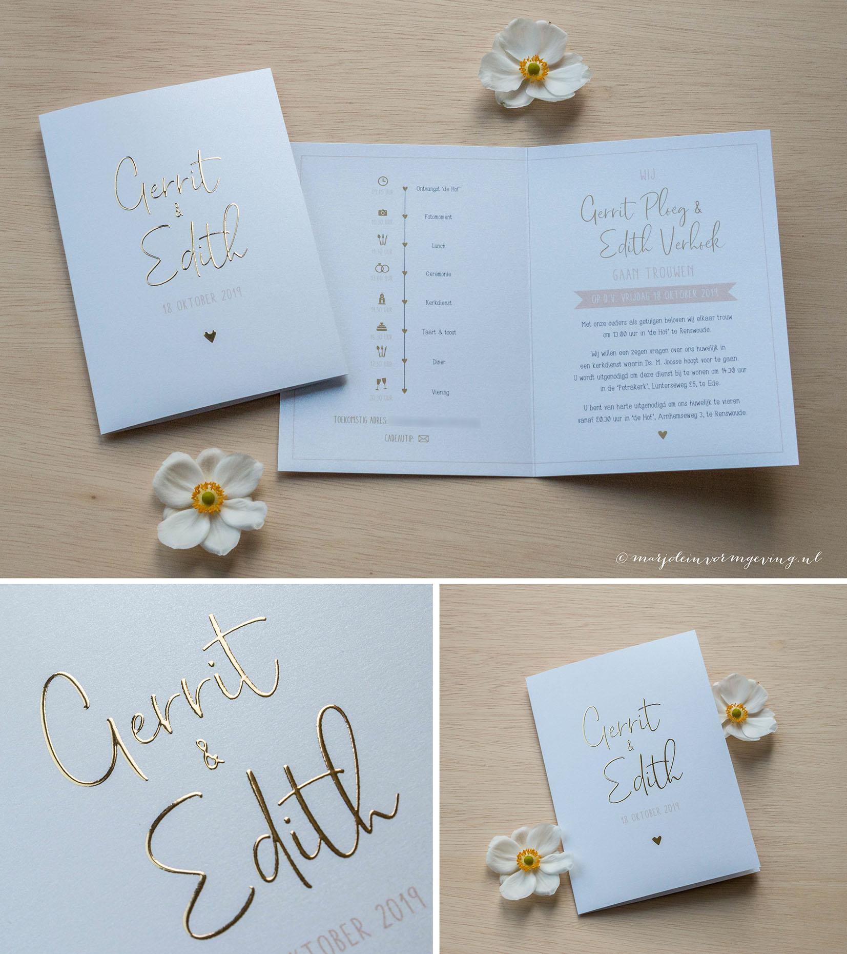 Trouwkaart op maat in met goudfolie en Peach kleur accenten op metallic papier