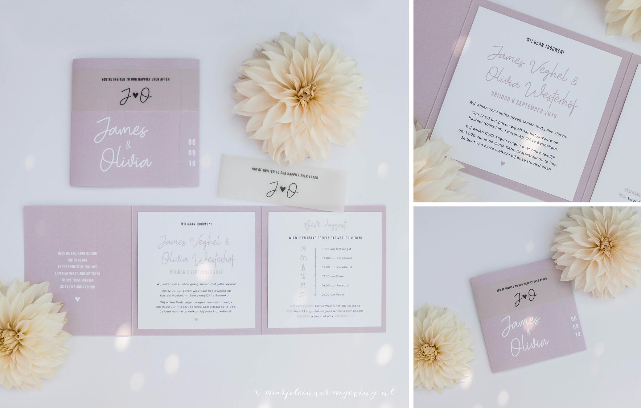 Trouwkaart op maat in formaat pocketfold oud roze met inlegkaartjes en transparante sleeve
