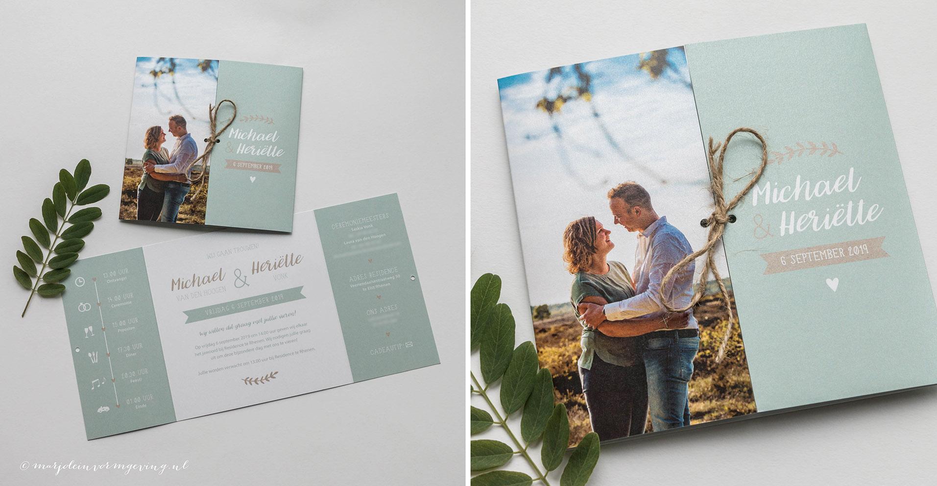 Trouwkaart op maat luikvouw met foto in mintgroen