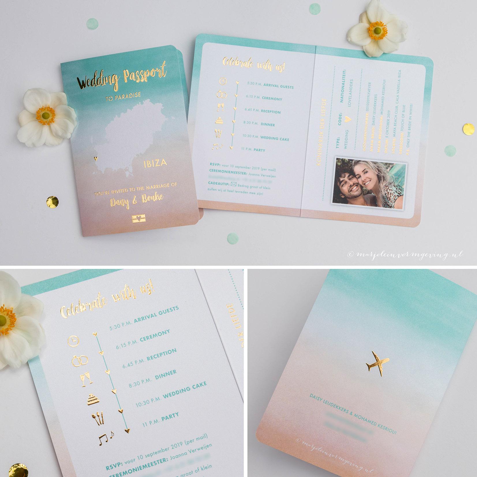 Trouwkaart op maat wedding paspoort Ibiza met goudfolie