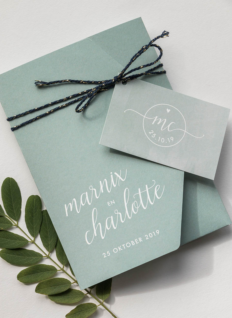 Trouwkaart ontwerp pocketfold groen