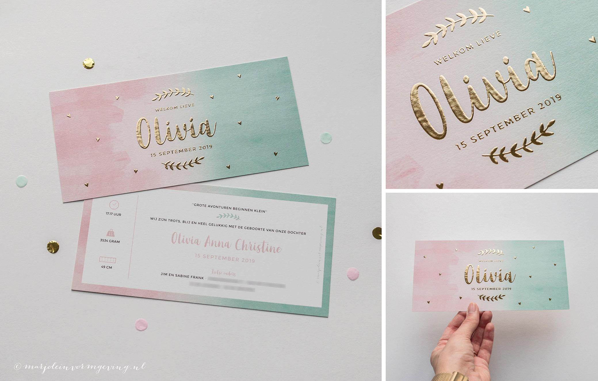 Geboortekaartje op maat roze mint met goudfolie
