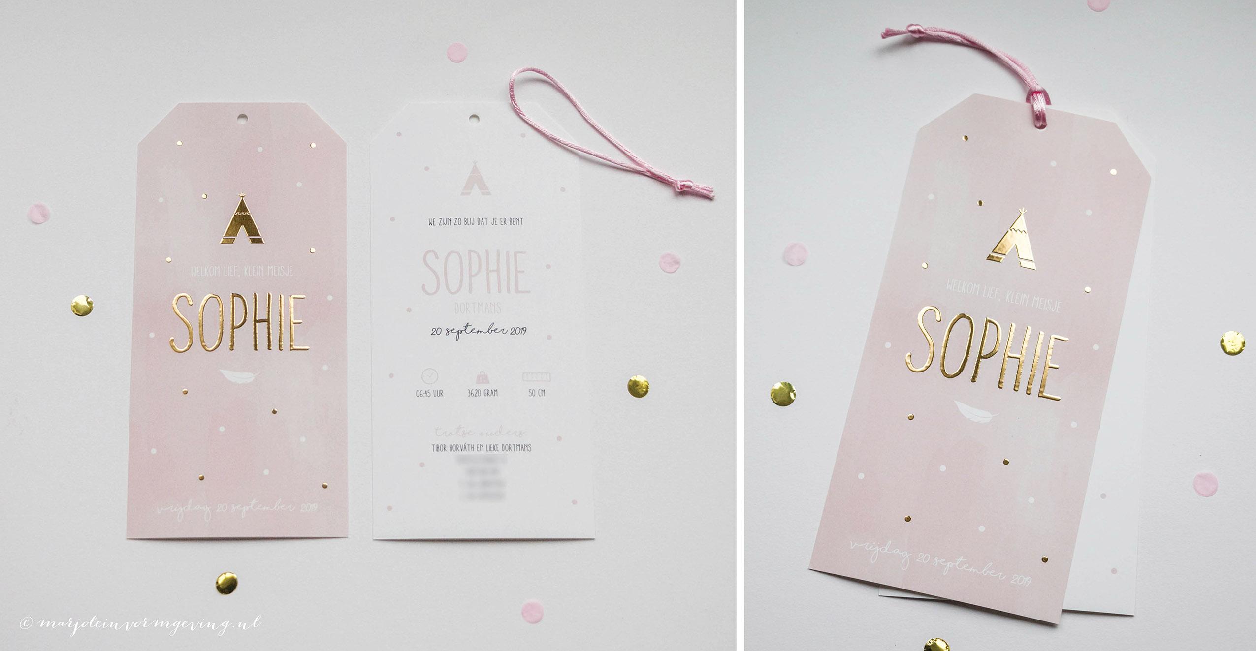Geboortekaartje op maat roze labels met goudfolie stippen