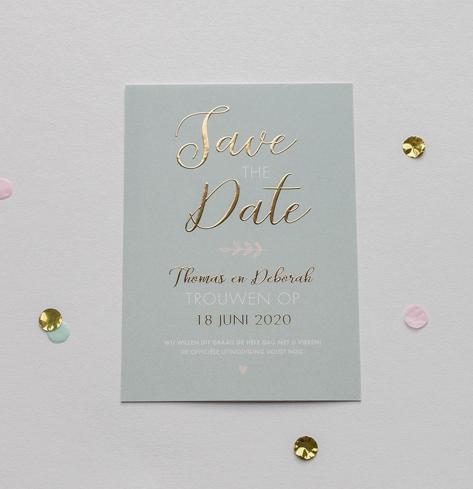 Save the Date kaart op maat mint met goudfolie