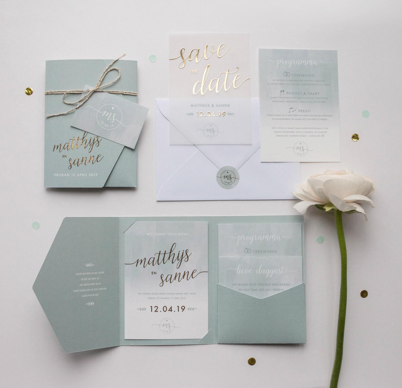 Pocketfold trouwkaart laten ontwerpen