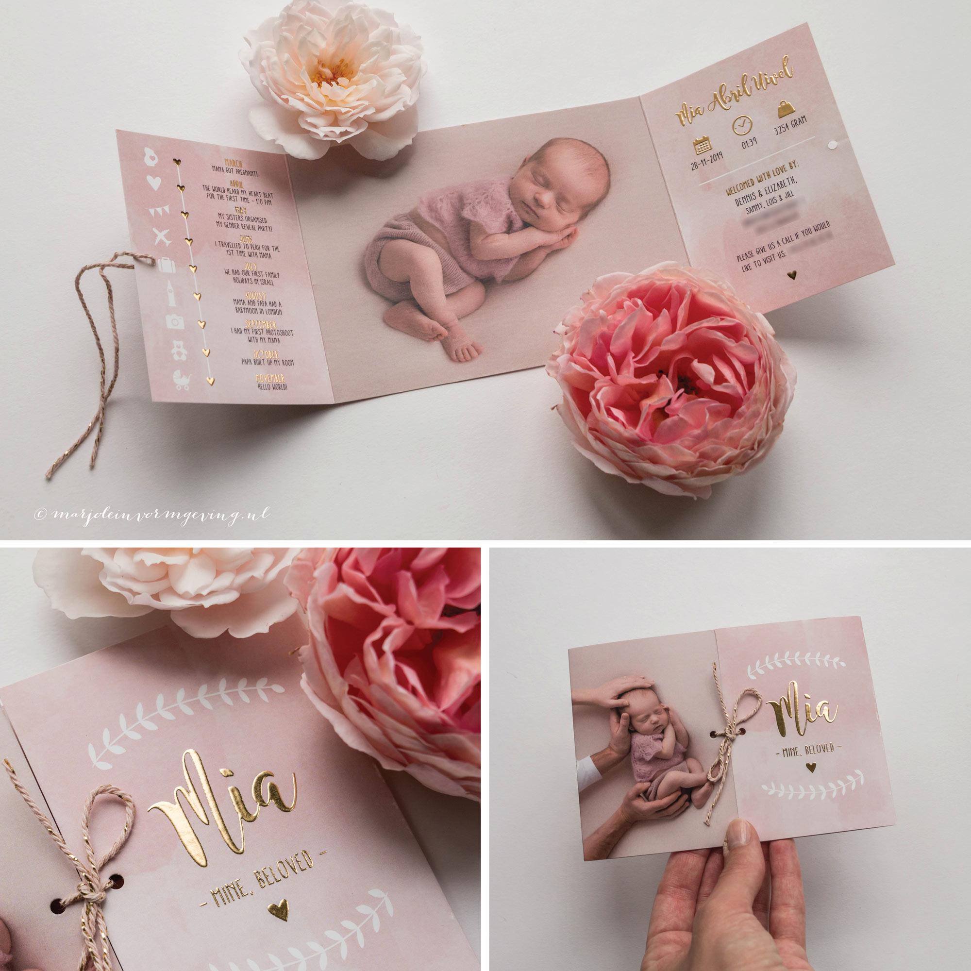 Geboortekaartje Ontwerp op maat luikvouw met foto en goudfolie