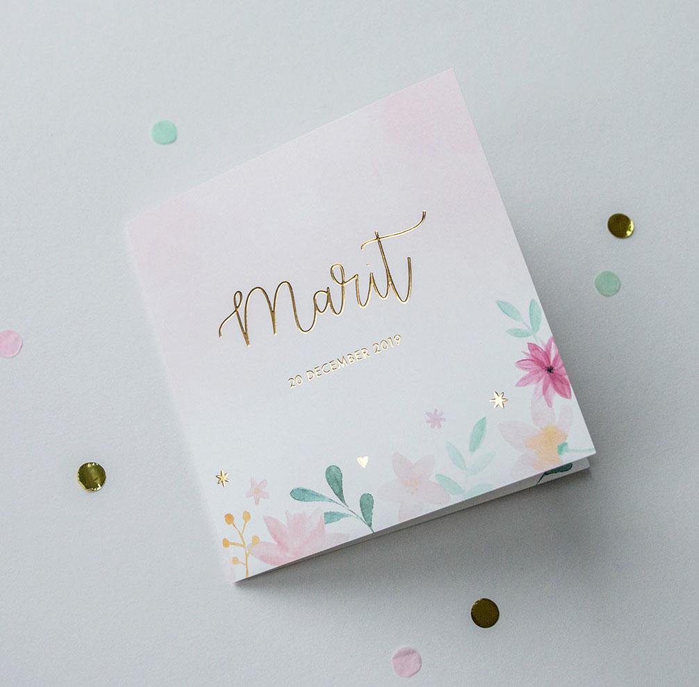 Geboortekaartje Ontwerp op maat Bloemen met goudfolie
